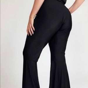 Black stretch bell bottom pants